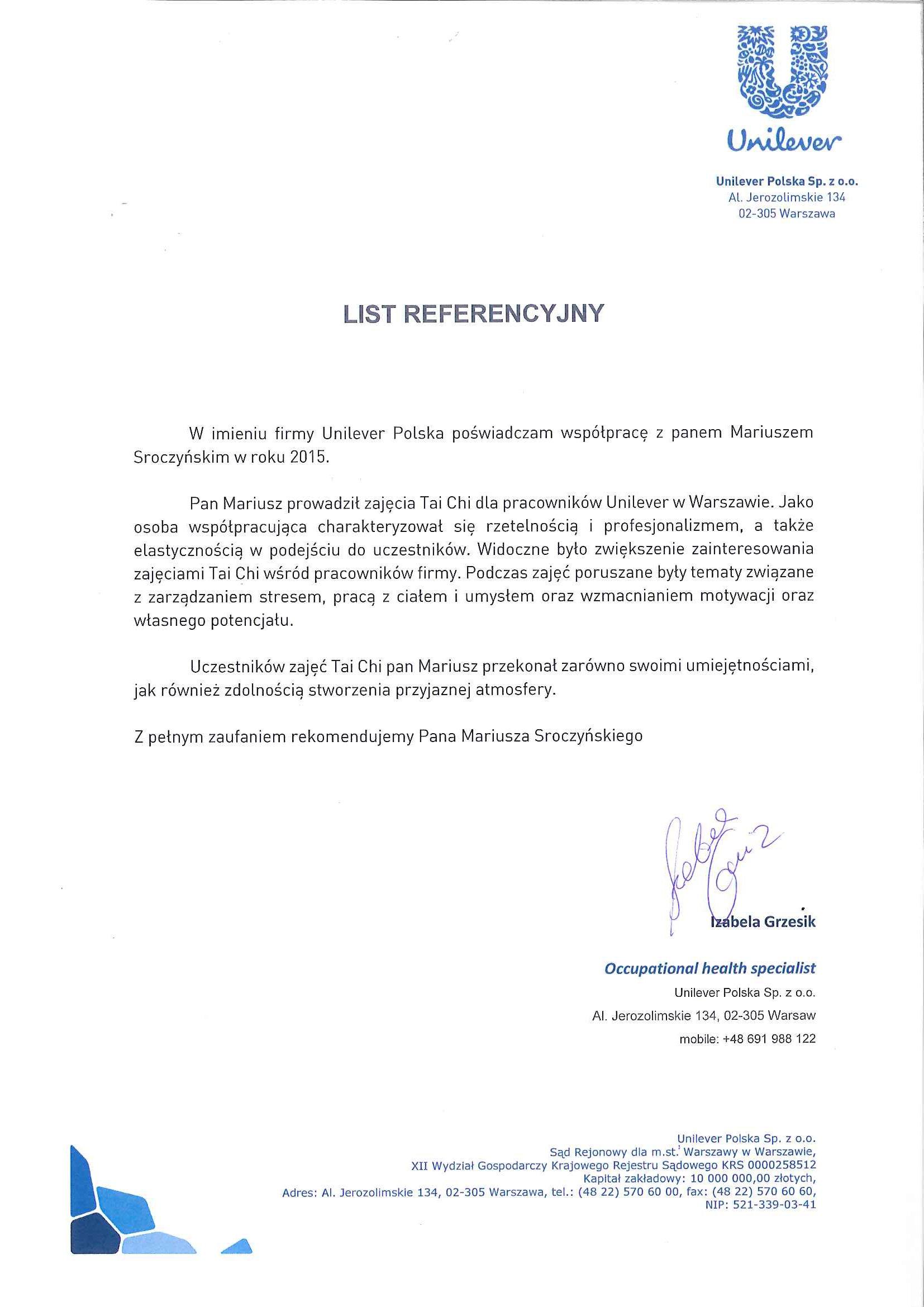 Referencje TaiChi-Unilever